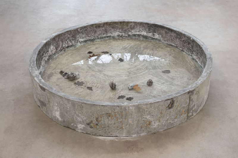 Kar / Tub, 2018. Concrete, salt water, oak leaves. Ø: 160cm, h: 26cm. Photo: Per Andersen.